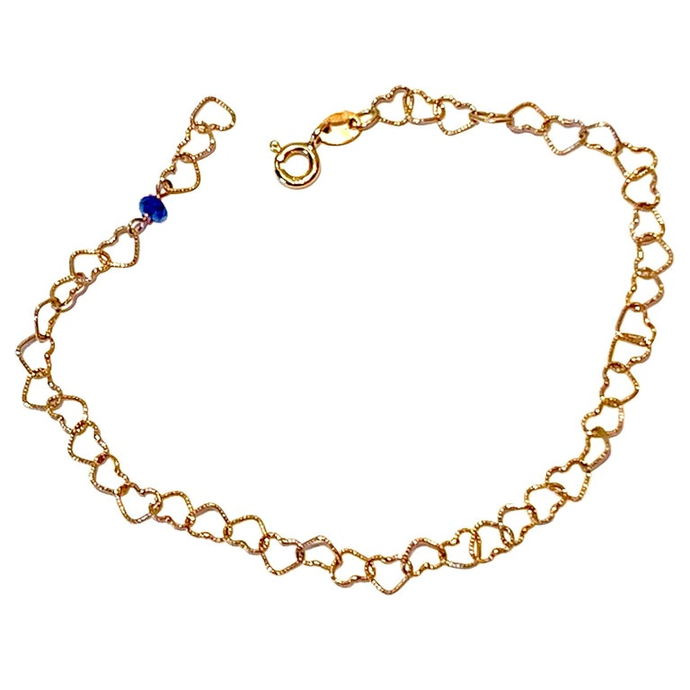 "Romantic Style 18Karat Yellow Gold 0.30Karat Sapphire ""Little Hearts"" Bracelet For Sale"