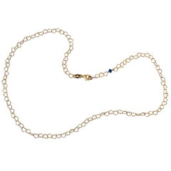"Romantic Style 18Karat Yellow Gold 0.51Karat Sapphire ""Little Hearts"" Necklace"