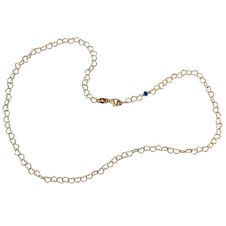 "Romantic Style 18Karat Yellow Gold 0.51Karat Sapphire ""Little Hearts"" Necklace For Sale"