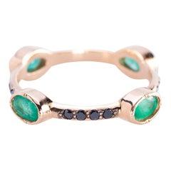 Rossella Ugolini 18 Karat Gold Emerald 0.70 Karats Black Diamonds Stacking Ring
