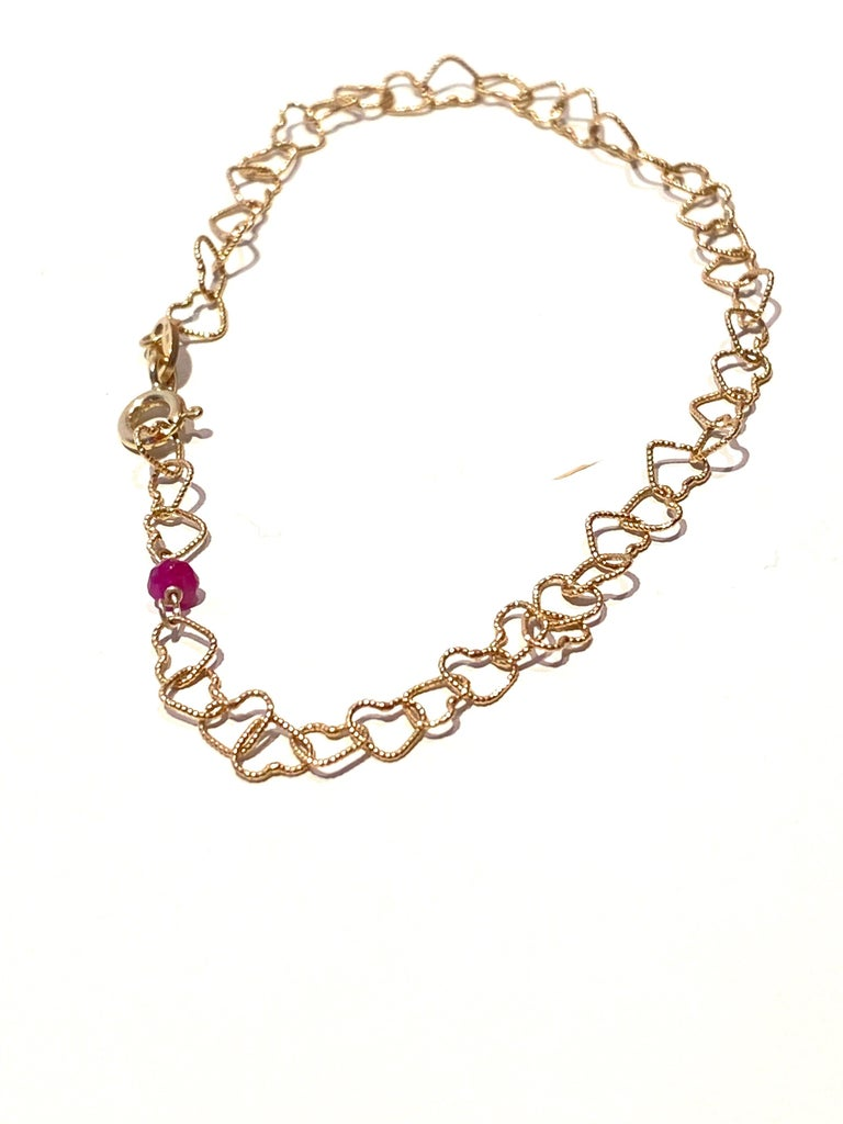 Romantic Style Rossella Ugolini 18 Karats Yellow Gold 0.32 Karat Red Ruby Hammered