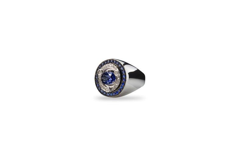 Rossella Ugolini 18 Karat White Gold 3.20 Karat Sapphires 0.30 Karat White Diamonds Contemporary  Ring This intense ring is handcrafted in 18 karats pure white gold and adorned with deep 3.20 karats sapphires and 0.30 karats luminous white