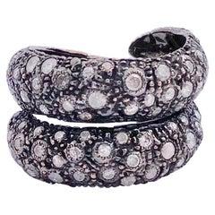 "Ugolini Artisan Rose Burnished Gold 1.8 Karat Grey Diamonds ""Rope"" Fashion Ring"