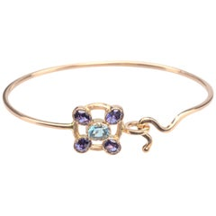 Ugolini Hammered Rose Gold Deep Blue Iolite Blue Topaz Twisted Bangle Bracelet