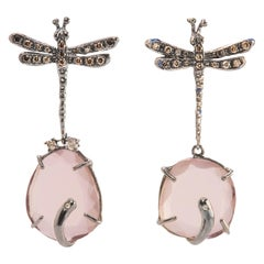 Handcrafted Silver Rose Quartz 0.50Karat Brown&Grey Diamond Dangle Earrings