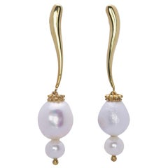 Modern Ugolini Yellow Gold-Plated Silver Sterling Fresh Water Pearls Earrings