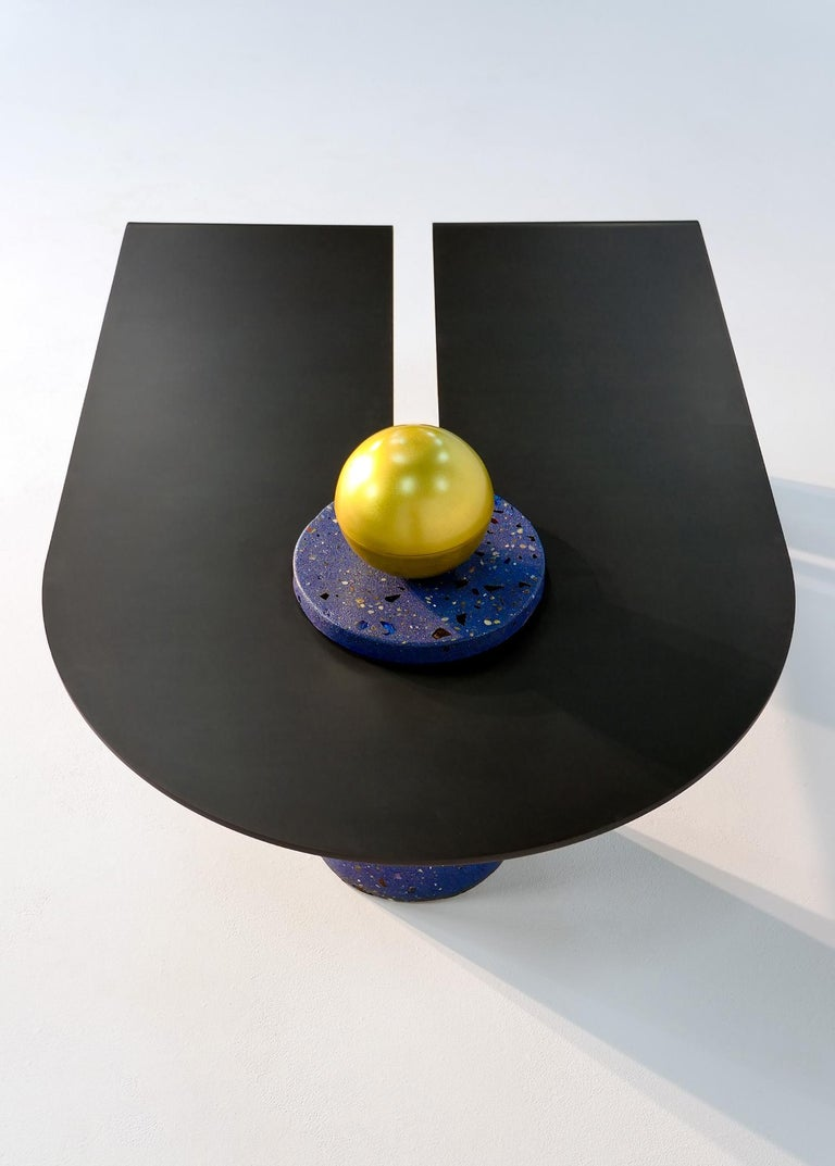 Modern Anodized Aluminum, Terrazzo, and Brass Three-Legged Coffee Table For Sale