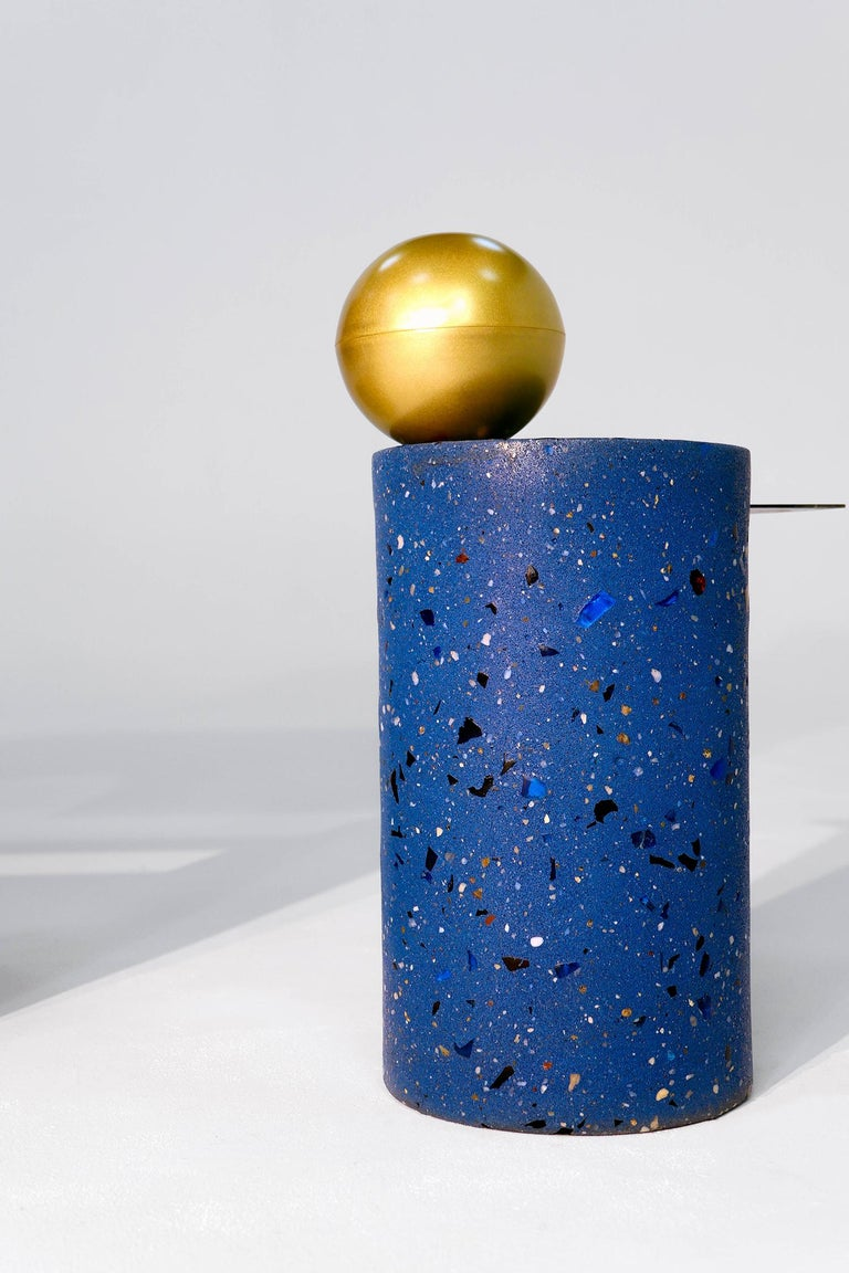 Anodized Aluminum, Terrazzo, and Brass Three-Legged Coffee Table In New Condition For Sale In New York, NY