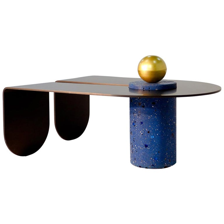 Anodized Aluminum, Terrazzo, and Brass Three-Legged Coffee Table For Sale