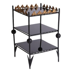 UK Great Britain Contemporary Art Side Table with Metal, Mirror, and Bee Design