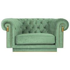 Modern Chesterfield Uk Armchair in Green Velvet and Polished Brass Footer