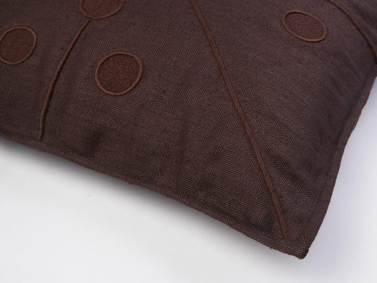 Needlework Ukiyo Hand Embroidered Brown Linen Pillow Cover For Sale