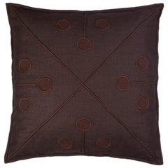 Ukiyo Hand Embroidered Brown Linen Pillow Cover