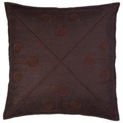 Ukiyo Hand Embroidered Brown Linen Pillow Cover