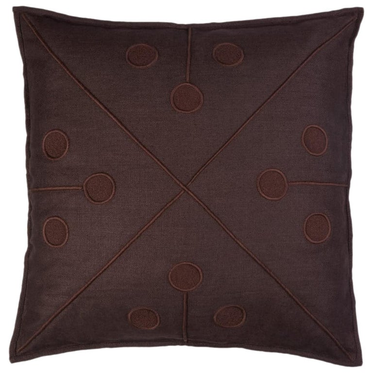 Ukiyo Hand Embroidered Brown Linen Pillow Cover For Sale