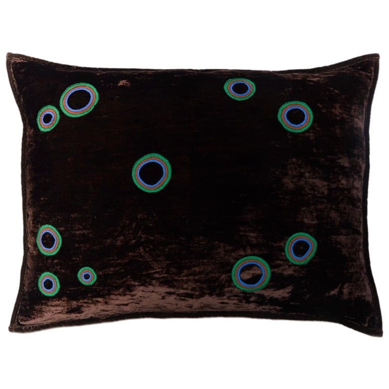 Ular Hand Embroidered Brown Velvet Pillow Cover For Sale
