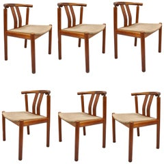 Uldum Danish Modern Teak Dining Chairs Curved Back, Set of Six