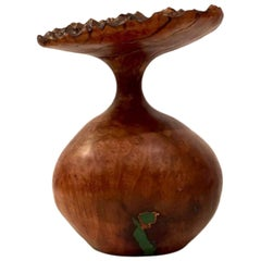 Uli Kirchler handcrafted Madrone wood vase with turquoise inlay