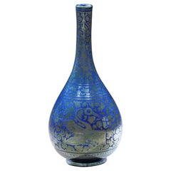 Ulisse Cantagalli Bottle Lustre Florence Phoenix Lapis Lazuli Blue Silver