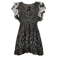 "Ulla Johnson Black Floral ""Ivy"" Dress with Ruffle sz 10 NWT"