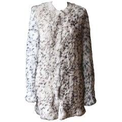 Ulla Johnson Christa Leopard Print Rabbit Fur Coat