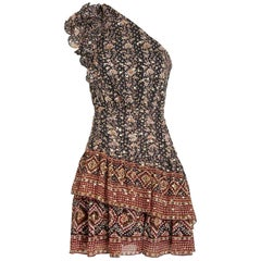 Ulla Johnson Kaia One Shoulder Ruffled Printed Silk Blend Mini Dress