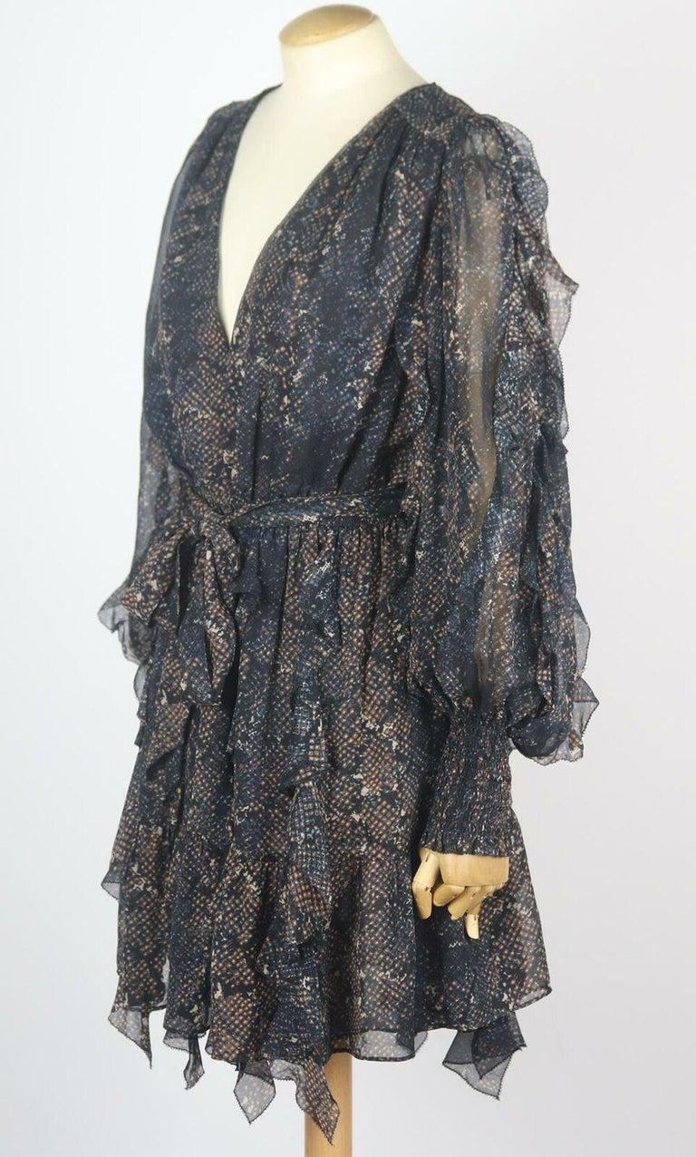 Black Ulla Johnson Natalia Ruffled Printed Fil Coupé Silk Mini Dress For Sale