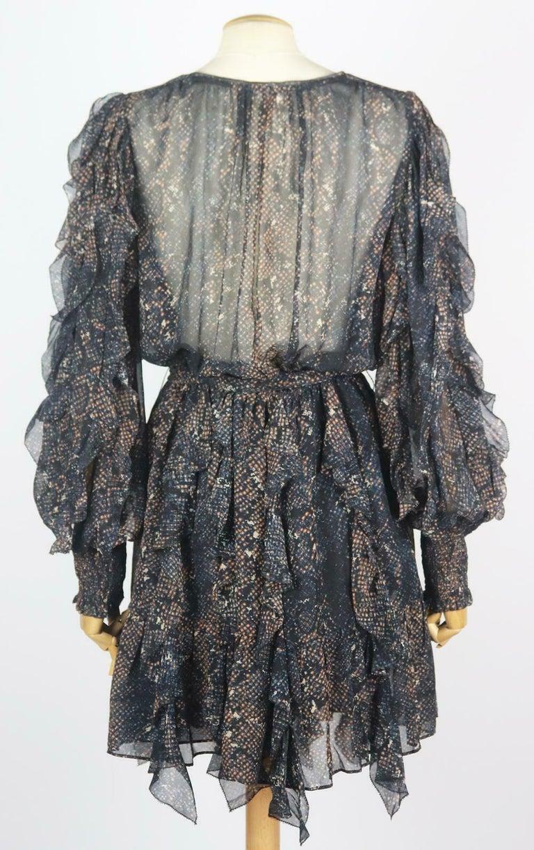 Ulla Johnson Natalia Ruffled Printed Fil Coupé Silk Mini Dress In Excellent Condition For Sale In London, GB