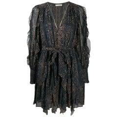 Ulla Johnson Natalia Ruffled Printed Fil Coupé Silk Mini Dress