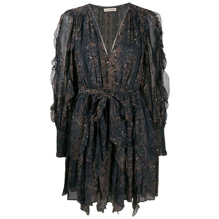 Ulla Johnson Natalia Ruffled Printed Fil Coupé Silk Mini Dress For Sale