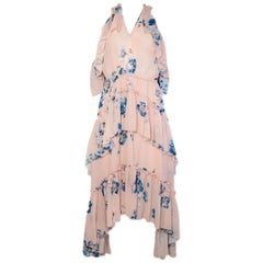 Ulla Johnson Peach w/ Blue Flowers Halter, 3 Tier Ruffle Dress sz 6