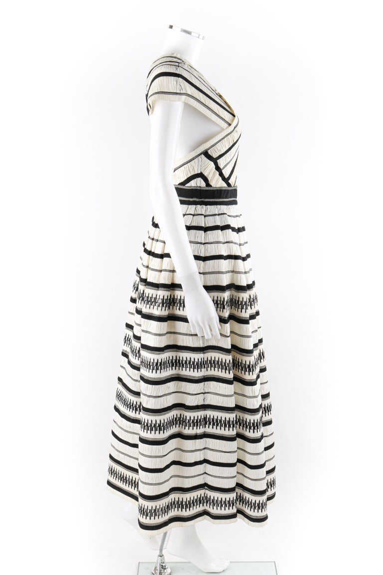 """ULLA JOHNSON Spring 2019 """"Anju"""" Raffia Striped Criss Cross Back Maxi Dress NWT In Excellent Condition For Sale In Thiensville, WI"""