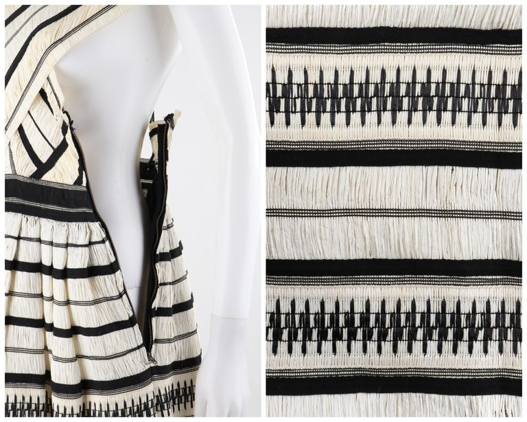 "ULLA JOHNSON Spring 2019 ""Anju"" Raffia Striped Criss Cross Back Maxi Dress NWT For Sale 3"