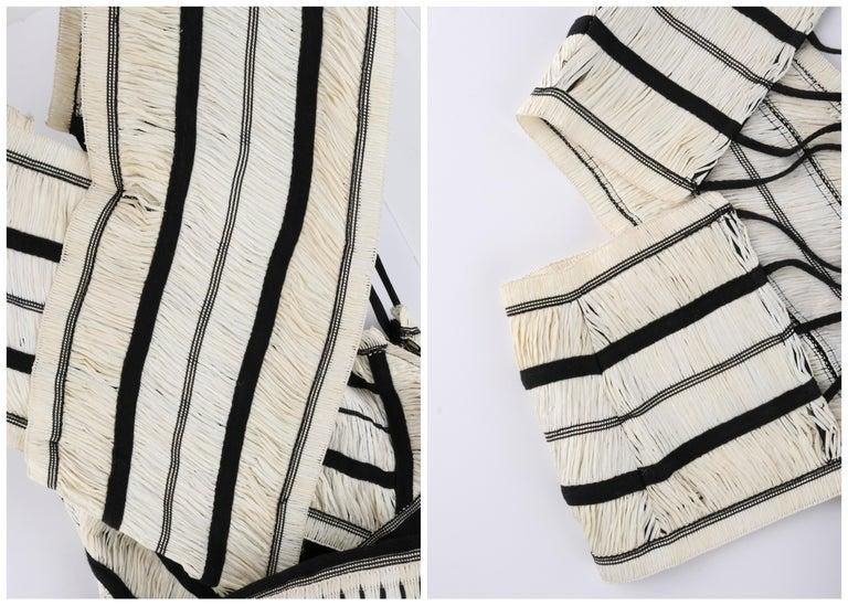 "ULLA JOHNSON Spring 2019 ""Anju"" Raffia Striped Criss Cross Back Maxi Dress NWT For Sale 4"