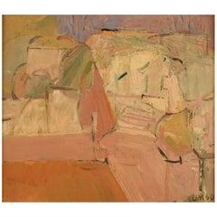 Ulla Malm, Finnish Artist, Oil on Canvas, Modernist City Scenery