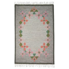 Ulla Parkdah Swedish Flat-Weave Rug, Signed UP, Sweden, 1960s