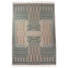 Ulla Parkdal Large Swedish Flat-Weave Rug, Sweden, 1960s