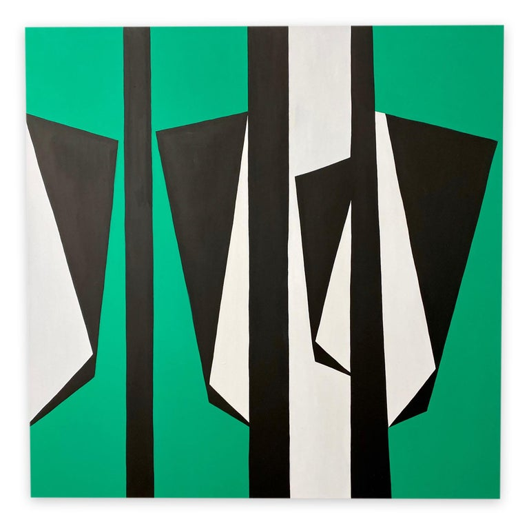 Cut-Up Canvas 2003 (Abstract Painting)  Acrylic on canvas - Unframed.  Pedersen works with acrylic paint.  When painting a composition, she tends toward a limited color palette, often reducing the composition to minimal, hard-edged shapes on