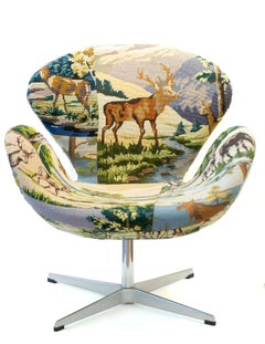 """""""Swan Chair"""", Needlepoint Embroidery Vintage Object Sculpture, Textile Art"""
