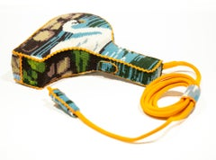 """""""Swan Hairdryer"""", Found Object Needlepoint Embroidery Sculpture, Textile Art"""