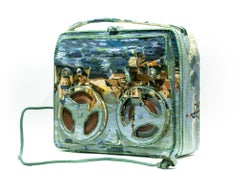 """""""Tape recorder"""", Needlepoint Embroidery Found Object Sculpture, Textile Art"""