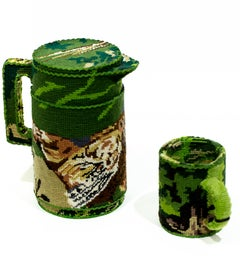 """""""Thermos and Mug"""", Needlepoint Embroidery, Textile Art, Found Object Sculpture"""