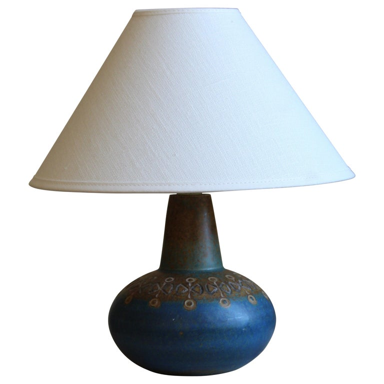Ulla Winblad, Table Lamp, Glazed Stoneware, Allingsås Keramik, Sweden, 1950s For Sale