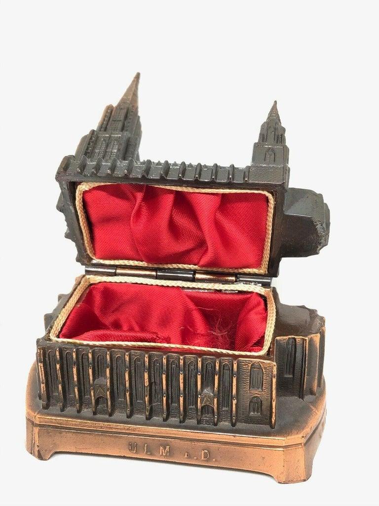Ulm Minster Church Jewelry Trinket Box Metal, Vintage German Souvenir, 1950s For Sale 1