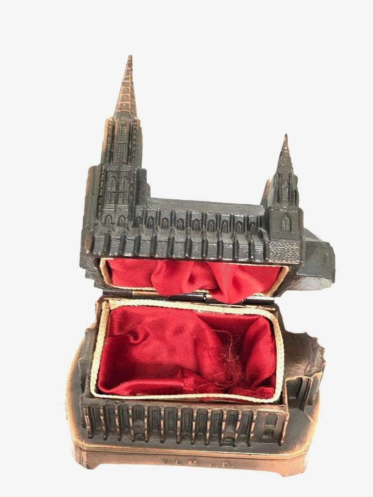Ulm Minster Church Jewelry Trinket Box Metal, Vintage German Souvenir, 1950s For Sale 2