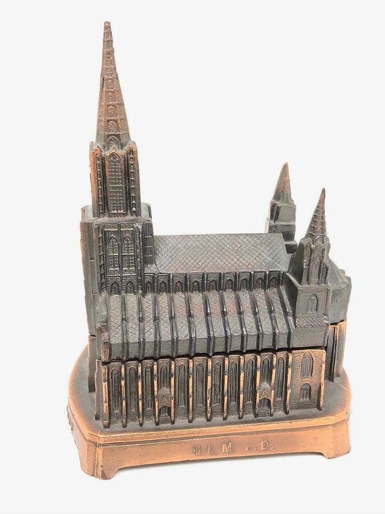Ulm Minster Church Jewelry Trinket Box Metal, Vintage German Souvenir, 1950s For Sale 4