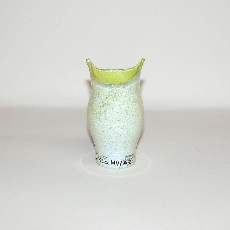 Hand-Painted Ulrica Hydman Vallien for Kosta Boda, Sweden, Vase in Mouth Blown Art Glass For Sale