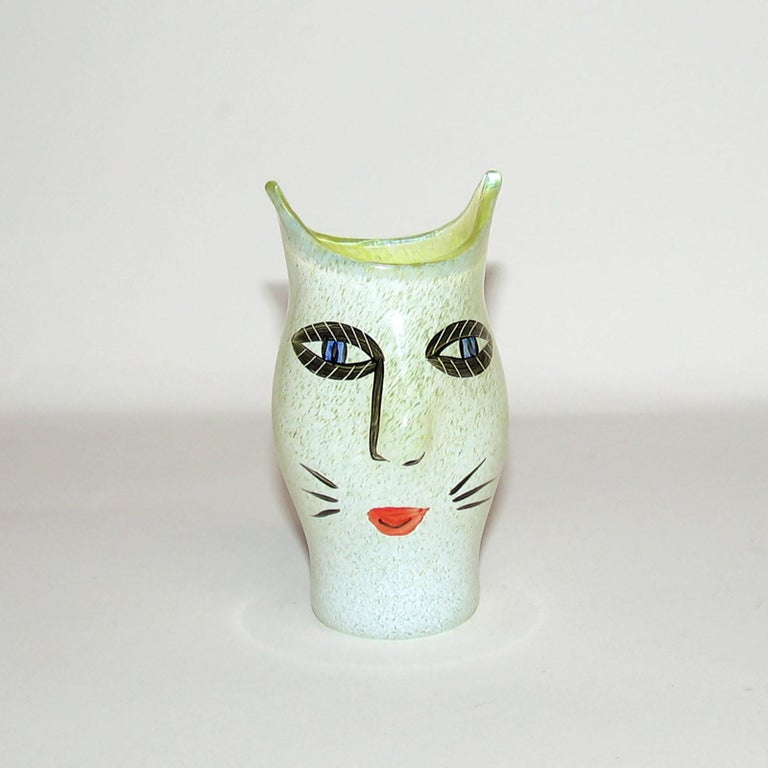 Late 20th Century Ulrica Hydman Vallien for Kosta Boda, Sweden, Vase in Mouth Blown Art Glass For Sale