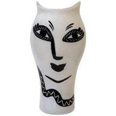 Ulrica Hydman-Vallien Hand Painted Vase for Kosta Boda, Eve and the Serpent