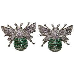Ultima Edizione Zircon Bumble Bee Clip Earrings